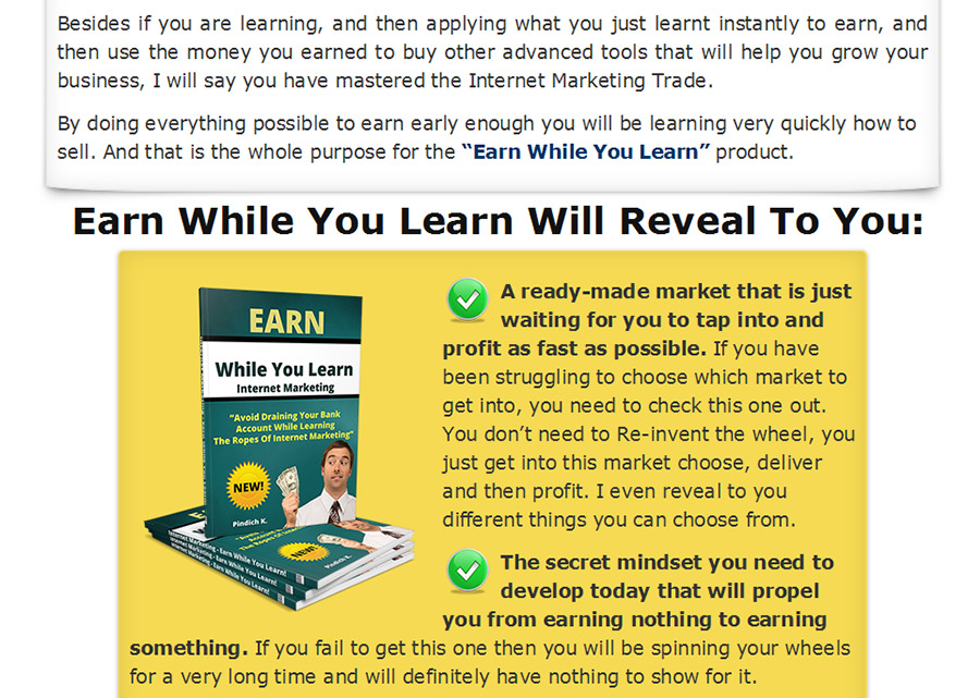 What you will get In The Earn While You Learn Course